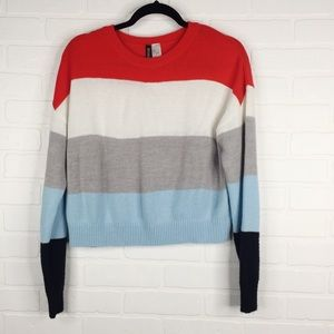 H&M Sweater Color Block Striped Knit Divided